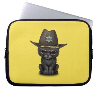 Cute Baby Black Panther Cub Sheriff Computer Sleeve