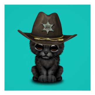 Cute Baby Black Panther Cub Sheriff Poster