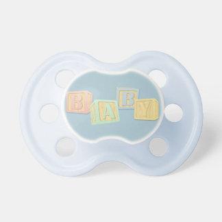 Cute Baby Blue Alphabet Blocks Pastel Pacifier