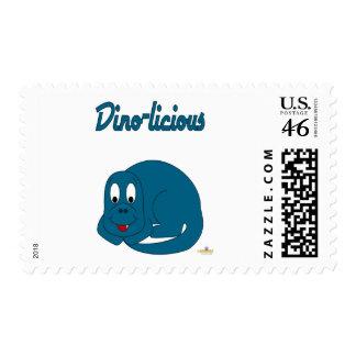 Cute Baby Blue Dinosaur Dino-licious Postage Stamps