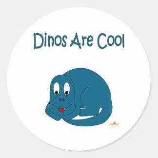 Cute Baby Blue Dinosaur Dinos Are Cool Round Stickers