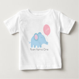 Cute baby blue elephant with a pink balloon baby T-Shirt