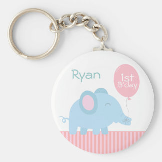 Cute baby blue elephant with a pink balloon basic round button keychain