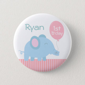 Cute baby blue elephant with a pink balloon button