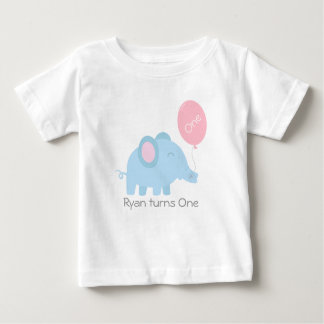 Cute baby blue elephant with a pink balloon t-shirt