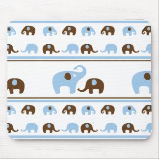 CUTE BABY BLUE ELEPHANTS CARTOON BROWN ELEPHANT PA MOUSE PAD
