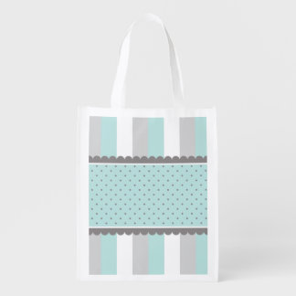 Cute Baby Blue & Gray Stripes and Polka Dots Grocery Bag