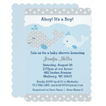 Cute Baby Blue & Grey Whale Baby Shower Invitation