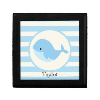 Cute Baby Blue Whale; Stripes Keepsake Box