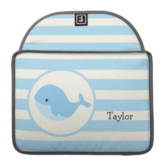 Cute Baby Blue Whale; Stripes Sleeves For MacBooks
