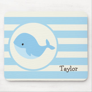 Cute Baby Blue Whale; Stripes Mouse Pad