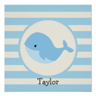 Cute Baby Blue Whale; Stripes Posters