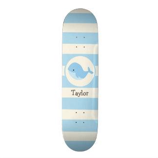 Cute Baby Blue Whale; Stripes Skateboard Deck