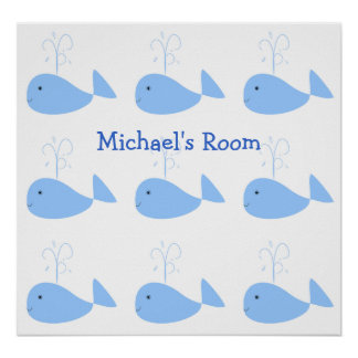 Cute Baby Blue Whales and Waterspout Optional Name Poster