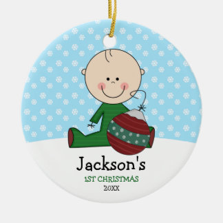 Cute Baby Boy 1st Christmas Personalized Double-Sided Ceramic Round Christmas Ornament