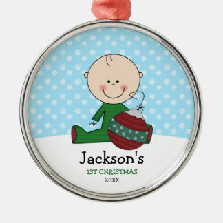 Cute Baby Boy 1st Christmas Personalized Metal Ornament