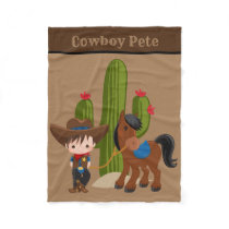 Cute baby boy add name cowboy blanket