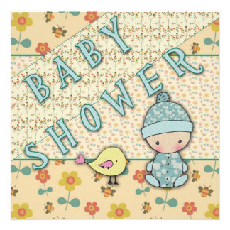 Cute Baby Boy and Bird Baby Shower Invitations