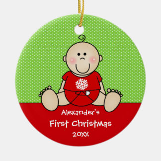 Cute Baby Boy Baby's First Christmas Ornament