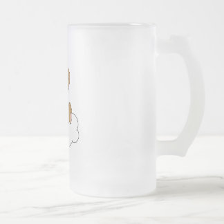 Cute Baby Boy Bear on Cloud Frosted Glass Beer Mug