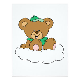 Cute Baby Boy Bear on Cloud Personalized Invitation