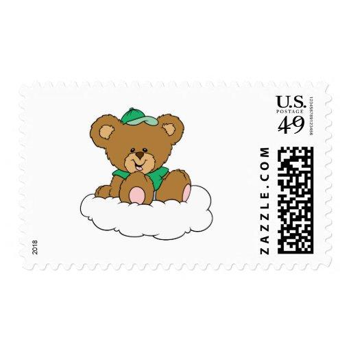 Cute Baby Boy Bear on Cloud Postage Stamp
