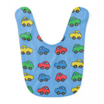 Cute Baby Boy Bib with Colorful Toy Car Pattern