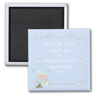 Cute Baby Boy Blue Baby Shower Save The Date Refrigerator Magnet