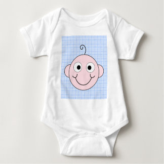 Cute Baby Boy. Blue Check Background. Baby Bodysuit