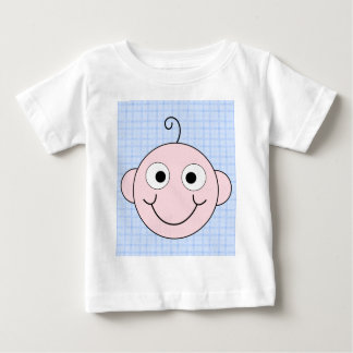 Cute Baby Boy. Blue Check Background. Baby T-Shirt