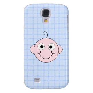 Cute Baby Boy. Blue Check Background. Galaxy S4 Cases