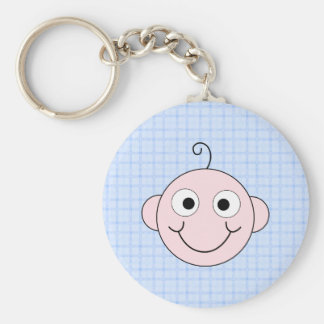 Cute Baby Boy. Blue Check Background. Keychain