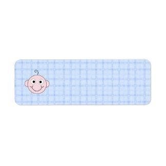 Cute Baby Boy. Blue Check Background. Return Address Label