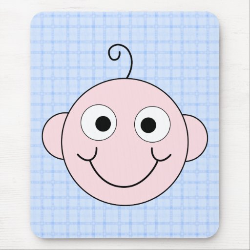Cute Baby Boy. Blue Check Background. Mouse Pad