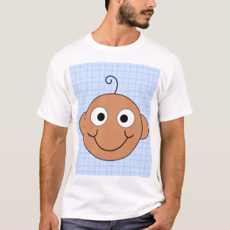 Cute Baby Boy. Blue Check Background. T-Shirt