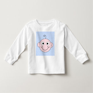 Cute Baby Boy. Blue Check Background. Toddler T-shirt