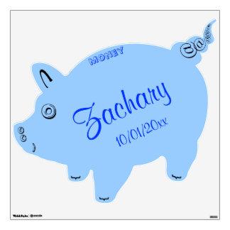 Cute Baby Boy Blue Piggy Bank Birth Date Wall Sticker