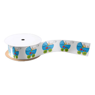 cute baby boy blue pram baby shower satin ribbon