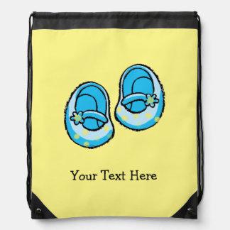 cute baby boy blue shoes nursery drawstring bag