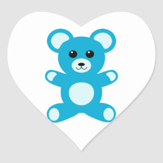 Cute Baby Boy Blue Teddy Bear Heart Sticker