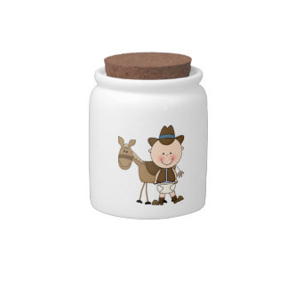 Cute Baby Boy Cow Pony Cowboy Spare Change Bank Candy Dish