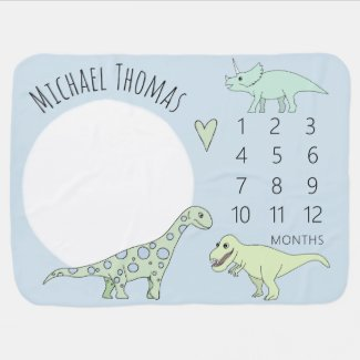 Cute Baby Boy Doodle Dinosaur with Name Milestone Baby Blanket