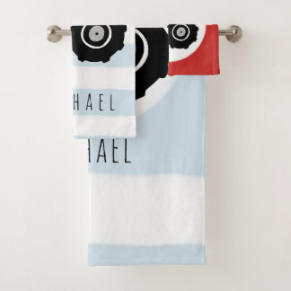 Cute Baby Boy Doodle Red Farm Tractor with Name Bath Towel Set
