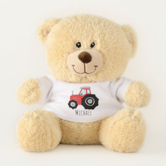 Cute Baby Boy Doodle Red Farm Tractor with Name Teddy Bear