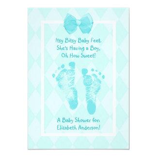 Cute Baby Boy Footprints Baby Shower Blue Ribbon Card