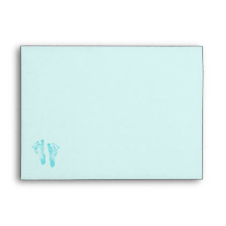 Cute Baby Boy Footprints Baby Shower Blue Ribbon Envelopes