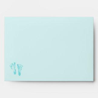 Cute Baby Boy Footprints Baby Shower Blue Ribbon Envelopes