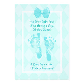 Cute Baby Boy Footprints Baby Shower Blue Ribbon 5x7 Paper Invitation Card