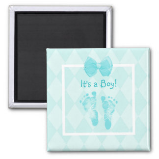 Cute Baby Boy Footprints Baby Shower Blue Ribbon Magnet