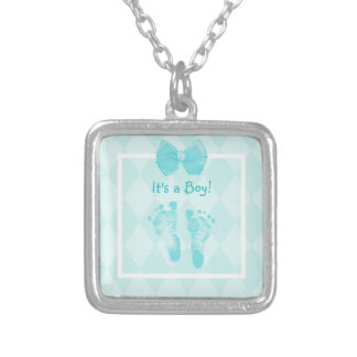 Cute Baby Boy Footprints Baby Shower Blue Ribbon Square Pendant Necklace
